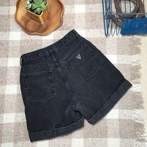 Vintage black guess ultra high waist denim shorts